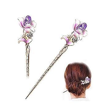 a739ae072 Famhome Chinese Hair Chopsticks Hair Decor Crystal Rhinestone Hair Pins  Flower Hair Clip Metal Hair Stick With Jewelly Box (Purple): Amazon.co.uk:  Beauty