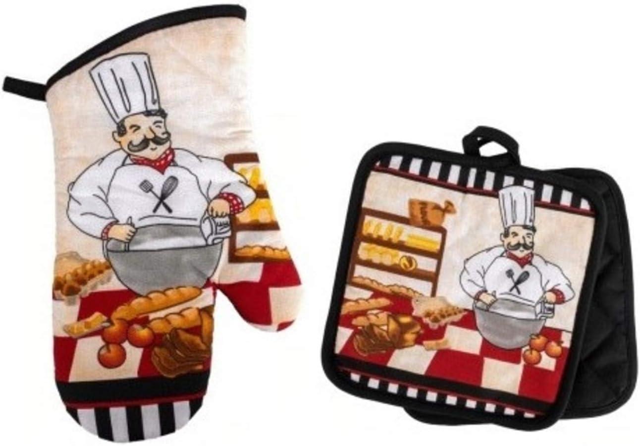 Pastry Chef Baker Oven Mitt and Potholders, Kitchen Decor Baking Bundle (3 Piece Set)