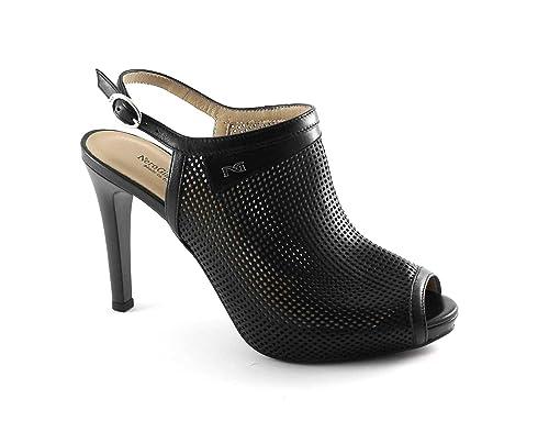 NERO GIARDINI 17373 nero scarpe donna sandali tacco forate spuntatecinturino