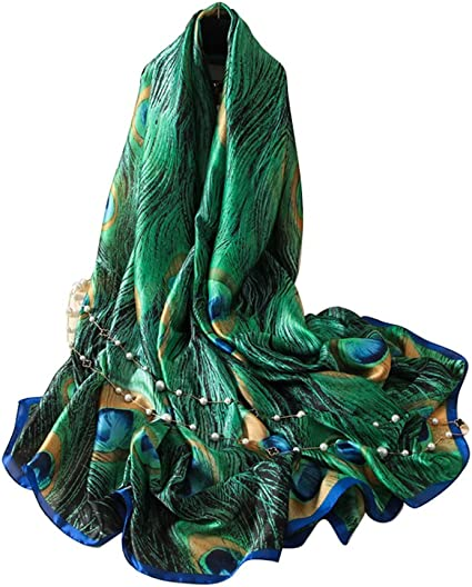 New Style Peacock Feather Pattern Scarf for Spring//Summer//Fall