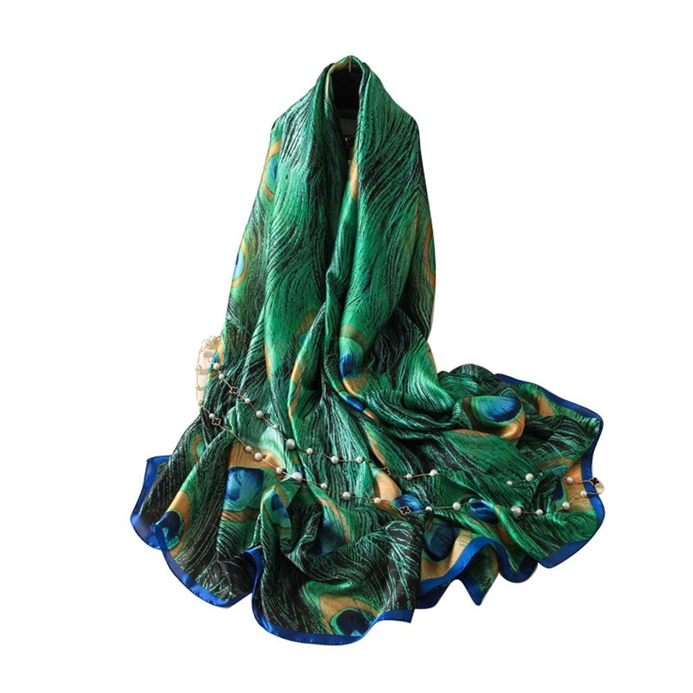 quanjucheer Foulard en Soie pour Femme Motif Plumes de Paon Vert Vert