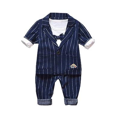 37dd0537e4177 Oyedens Ensemble Bébé Garçon 3 Pcs Vêtements Bébé Naissance Baptême Costume  Chemise Bowtie Top Blazer Manteau
