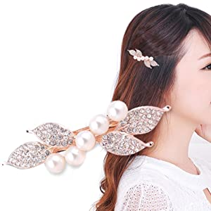Women's 5 Imitation Pearl Leaf Shaped Rhinestone Hair Clip Pin Claw Headwears Hair Accessories Great for XMAS Gift