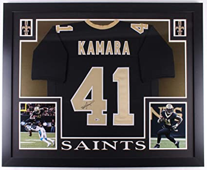 30253b91 Alvin Kamara Autographed Signed Saints 35X43 Custom Framed Jersey Beckett  Authentic COA Autograph Auto at Amazon's Sports Collectibles Store