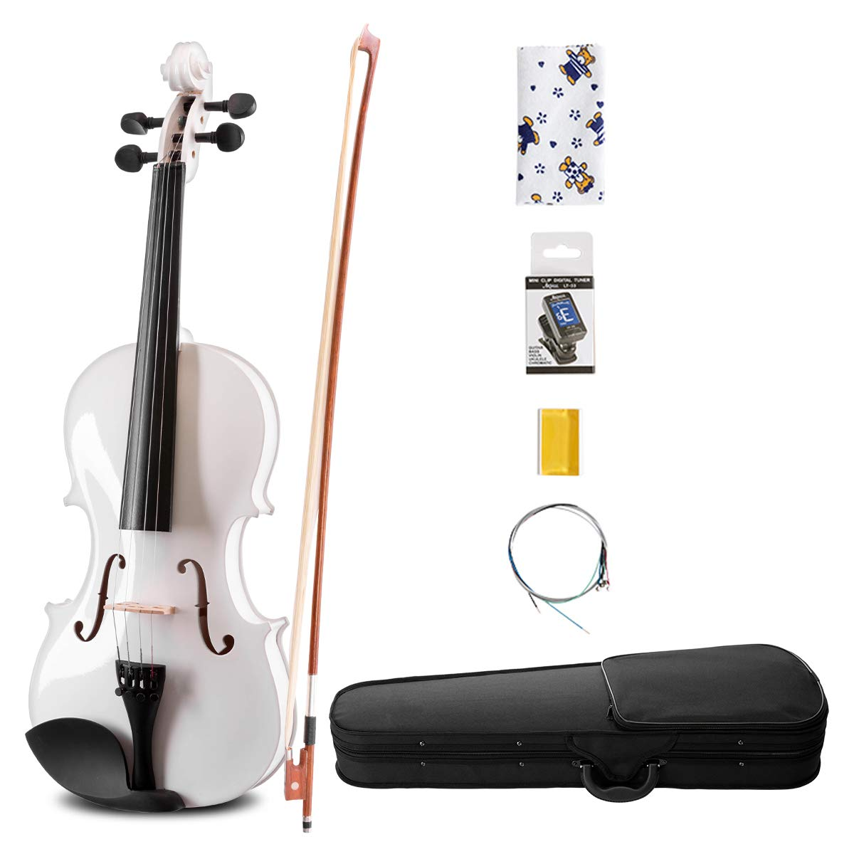 ARTALL 4/4 Handmade Student Acoustic Violin Beginner Pack with Bow, Hard Case, Chin Rest, Tuner, Spare Strings, Rosin and Bridge, Glossy White by ARTALL (Image #1)