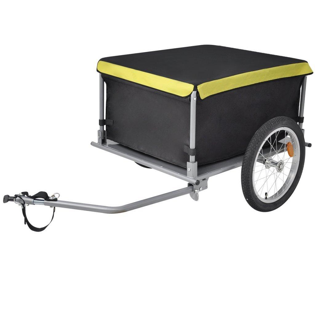 Festnight Fahrrad Lastenanhänger Handwagen Stahlrahmen Fahrradanhänger Max. Tragfähigkeit 65 kg Schwarz und Gelb