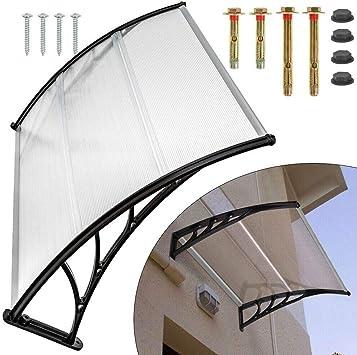 120//150//200 cm para puertas//ventanas//escaparates Marquesina transparente para puerta cubierta exterior de color negro transparente Berkalash