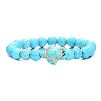 54b13b9e7f Image Unavailable. Image not available for. Color: Summer Style Sea Turtle  Beads Bracelets for Women Men Classic 8Mm Blue Natural Stone Elastic  Friendship