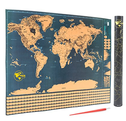 Scratch off world map detailed scratchable travel tracker poster scratch off world map detailed scratchable travel tracker poster with us states and country flags includes free scratcher pen tool perfect gift item gumiabroncs Choice Image
