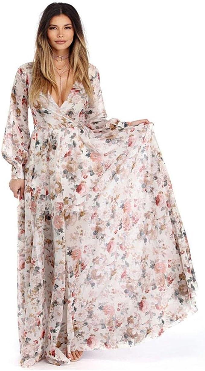 FORH Mode Frauen V-Ausschnitt voll Ärmel Chiffon Blumen- lang Maxi Abend  Party Kleid