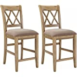 Ashley Furniture Signature Design - Mestler Barstool Set - Counter Height - Vintage Casual - Set of 2 - Antique White