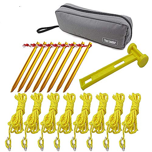 Tent Stakes Pegs 8 PCS – Tent Cords Rope 8PCS – Hammer 1PC – Tent Accessories Set