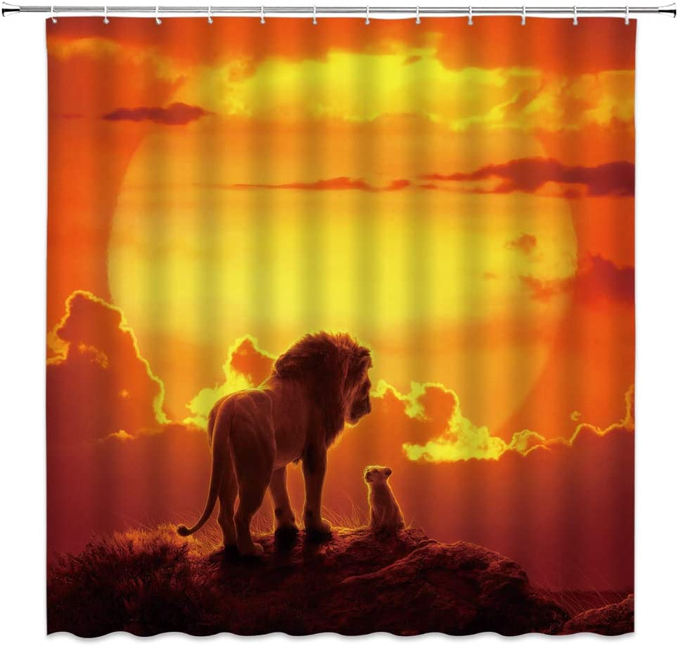 Lion Shower Curtain Lion King Prairie Animal Sunset Sun Golden Cloud Orange Bathroom Curtains Decor Polyester Fabric Waterproof 70 X 70 Inches Include Hooks Kitchen Dining