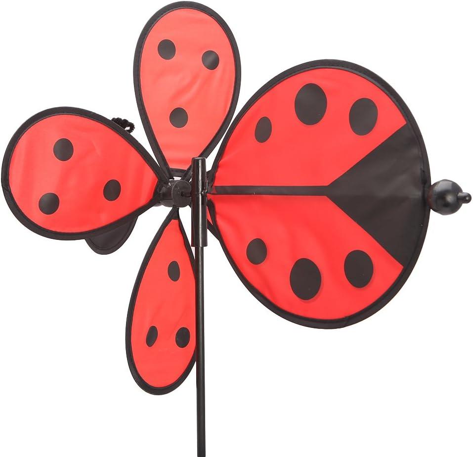 Q-XIAOKEAI Bee Ladybug Windmill Whirligig Wind Spinner Home Yard Garden Decor Kids Toys