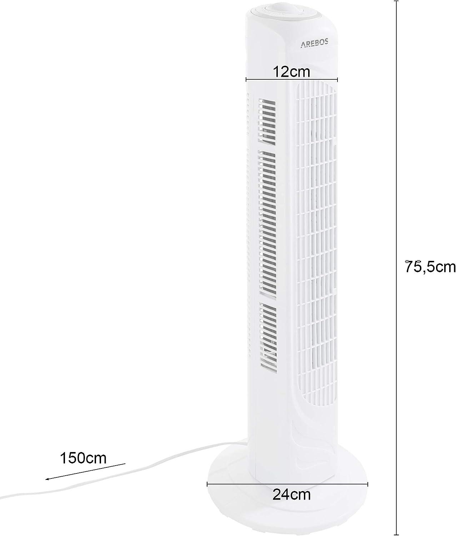 Arebos - Ventilador de torre (50 W, oscilante), color blanco ...