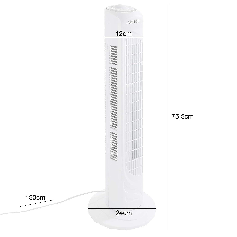 sparsam 3 versch oszillierend ruhiger lauf Arebos Turmventilator wei/ß mit Tragegriff Stufen 50 Watt