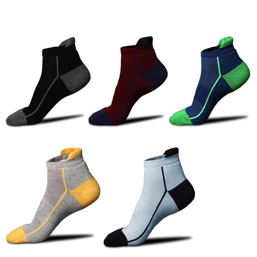 Low Cut Athletic Sports Cotton Socks for Men WULFUL No Show Ankle Socks 5 Pack