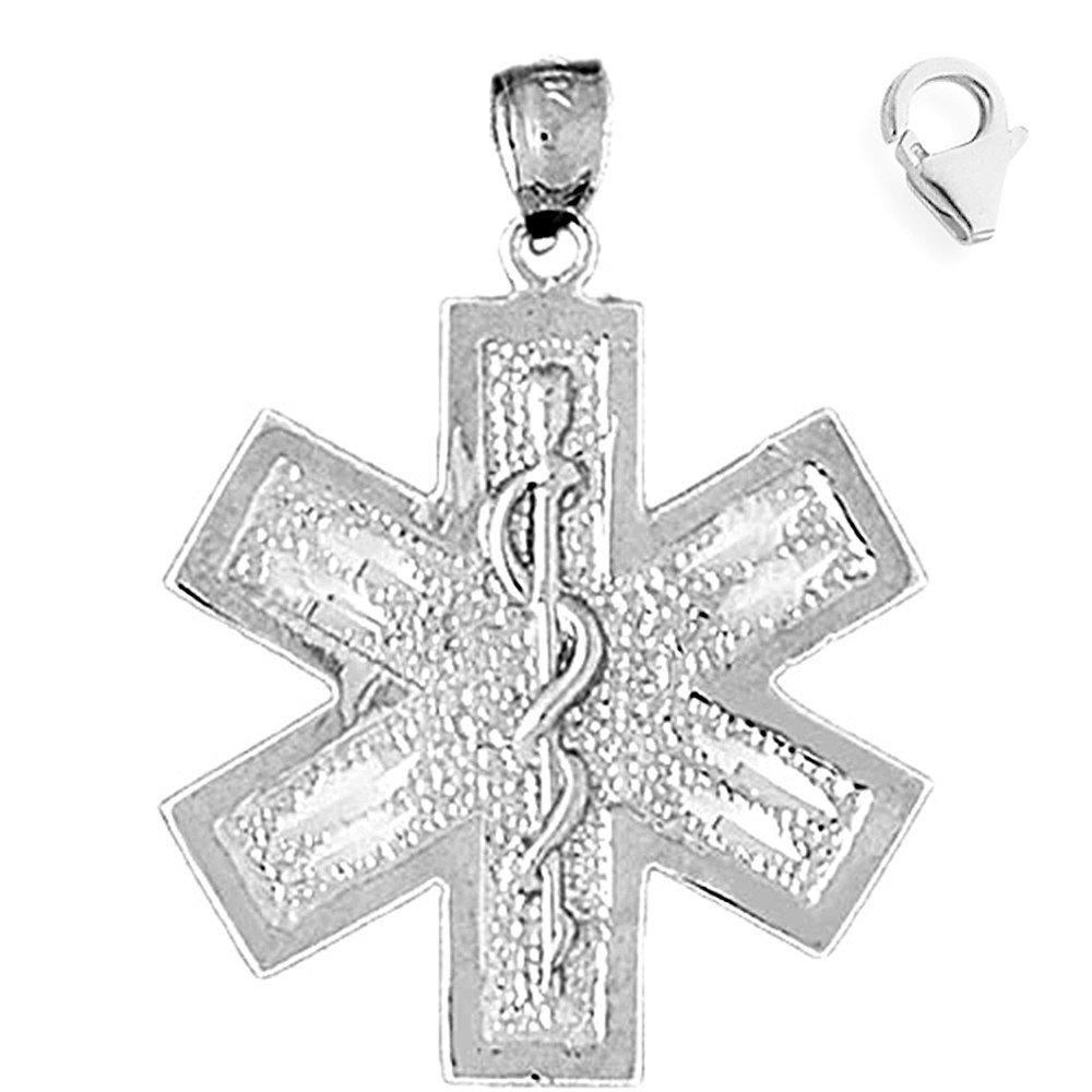 Sterling Silver 34mm Medical Alert Cadeusus with 7.5 Charm Bracelet Jewels Obsession Medical Alert Cadeusus Pendant