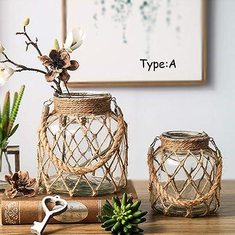 Jarrón de Cristal rústico Verde Naul para Flores, decoración ...