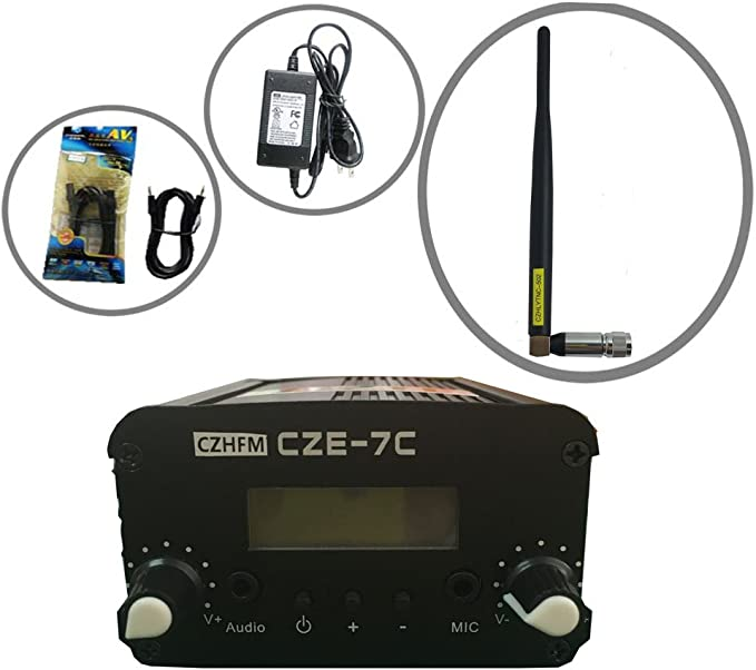 CZH CZE-7C - Transmisor FM (mini radio estéreo, PLL, LCD, con ...