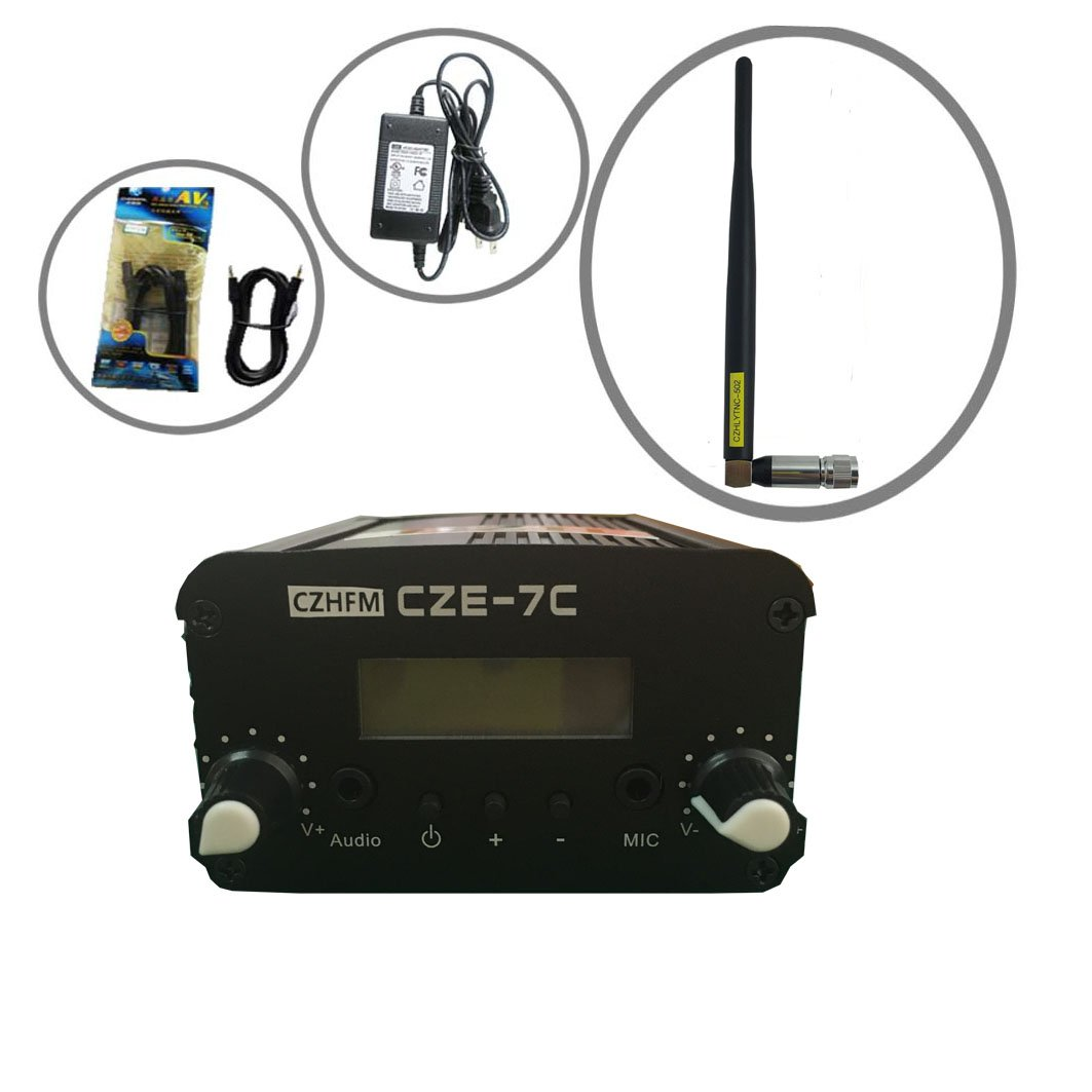 Czh Cze 7c Fm Transmitter Mini Radio Stereo Station Pll 1 Watt 1w High Power Circuit Board Lcd With Antenna Kit Cell Phones Accessories