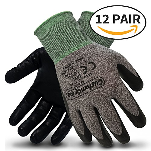 Gloves Custom Winter - CustomGrips Cut Resistant Work Gloves. Span-Nylon Liner, Level 4 Abrasion Resistance, Nitrile Foam Palm Coated for Utility Grade. Superior Grip Power on Oily & Wet Environment. [Medium, 12 Pairs]