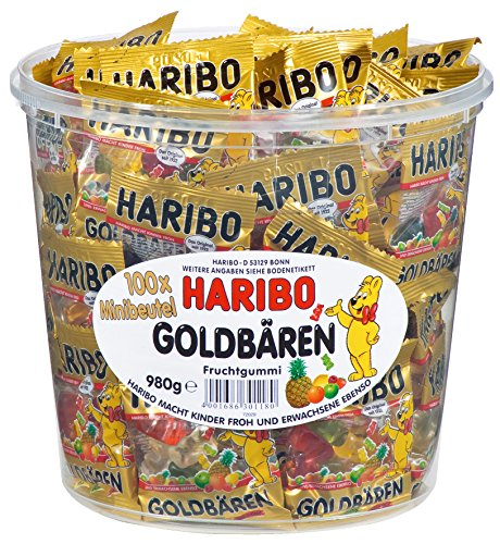 Haribo Mini Goldbaren ( Haribo mini Gold Bears ) , 100x minibags, 980g Tub]()