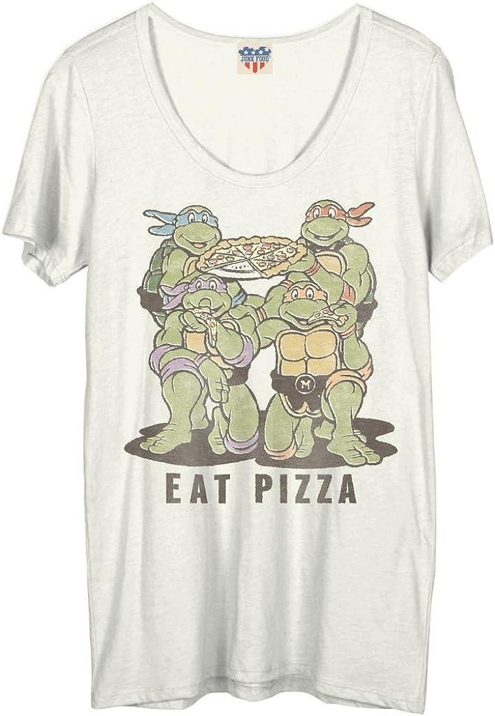 Junk Food Teenage Mutant Ninja Turtles Eat Pizza Juniors White T-Shirt