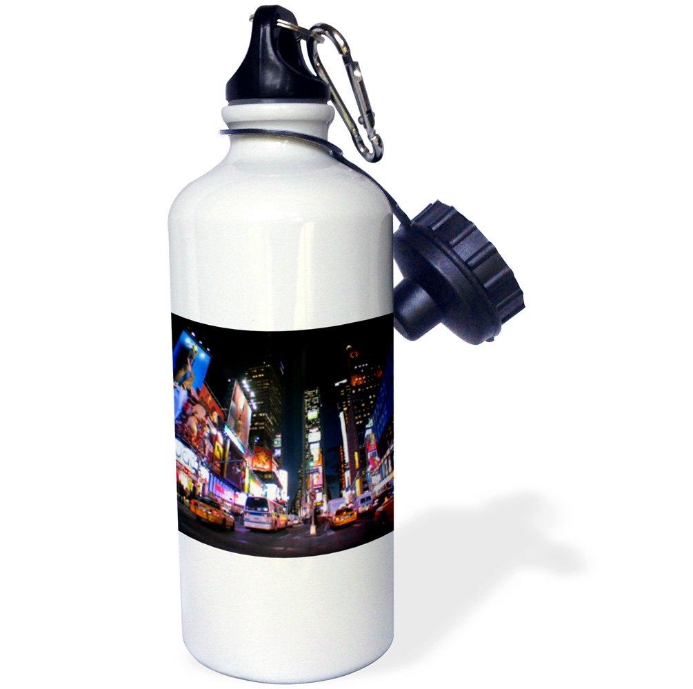 White 3dRose wb/_101408/_1 New York at Night Sports Water Bottle 21 oz