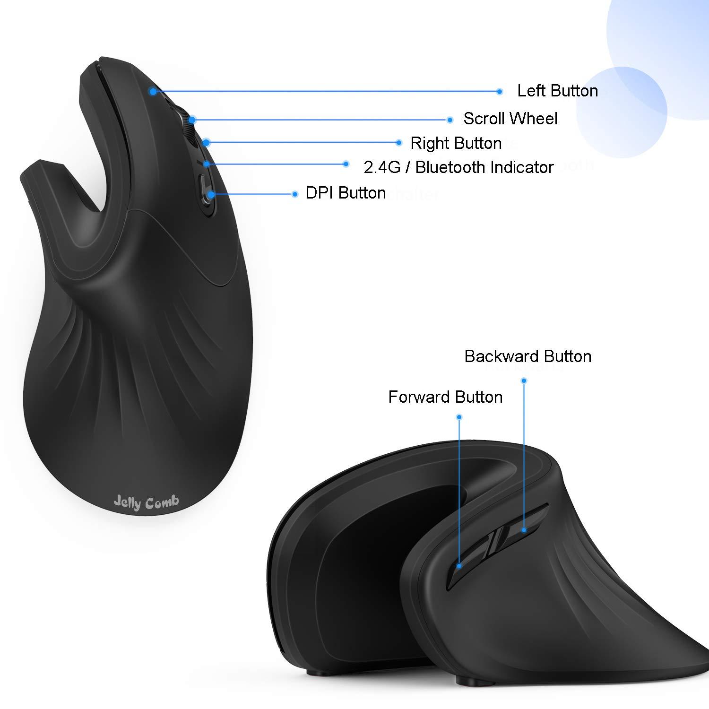 DPI R/églable,pour PC//Ordinateur Portable//Tablette Noir Jelly Comb Souris Ergonomique 2.4G Souris sans Fil et Souris Bluetooth Verticale Silencieuse avec Nano-R/écepteur