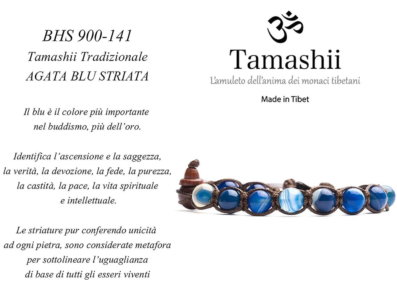 TAMASHII Bracciale Tibetano in Agata Blu Striata BHS900-141: MainApps:  Amazon.it: Gioielli
