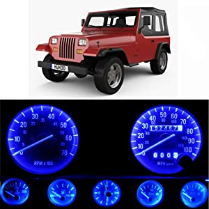 WLJH Bright Blue Instrument Panel Gauge Cluster Speedometer Tachometer Oil Pressure Fuel Temp Clock Indicator Bulb Full Led Light Kits Package for Jeep Wrangler 1987-1991