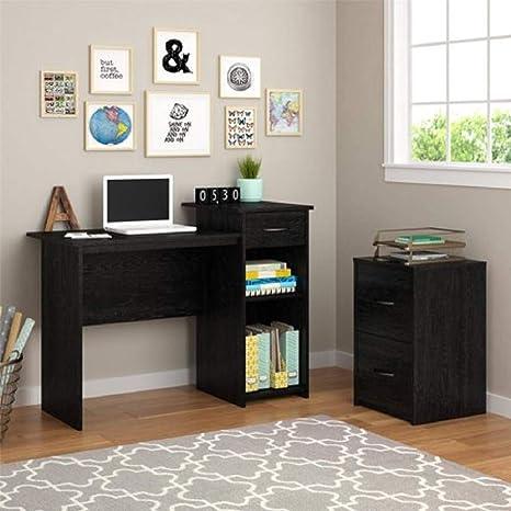 Mainstays Student Desk - Home Office Bedroom Furniture Indoor Desk - Easy  Glide Accessory Drawer (Black Ebony Ash)