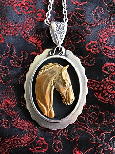 Horse Lady Gifts Pendant, Warmblood horse sculpture in 24k gold overlay on Pewter Oval pendant 24k Oval Pendant