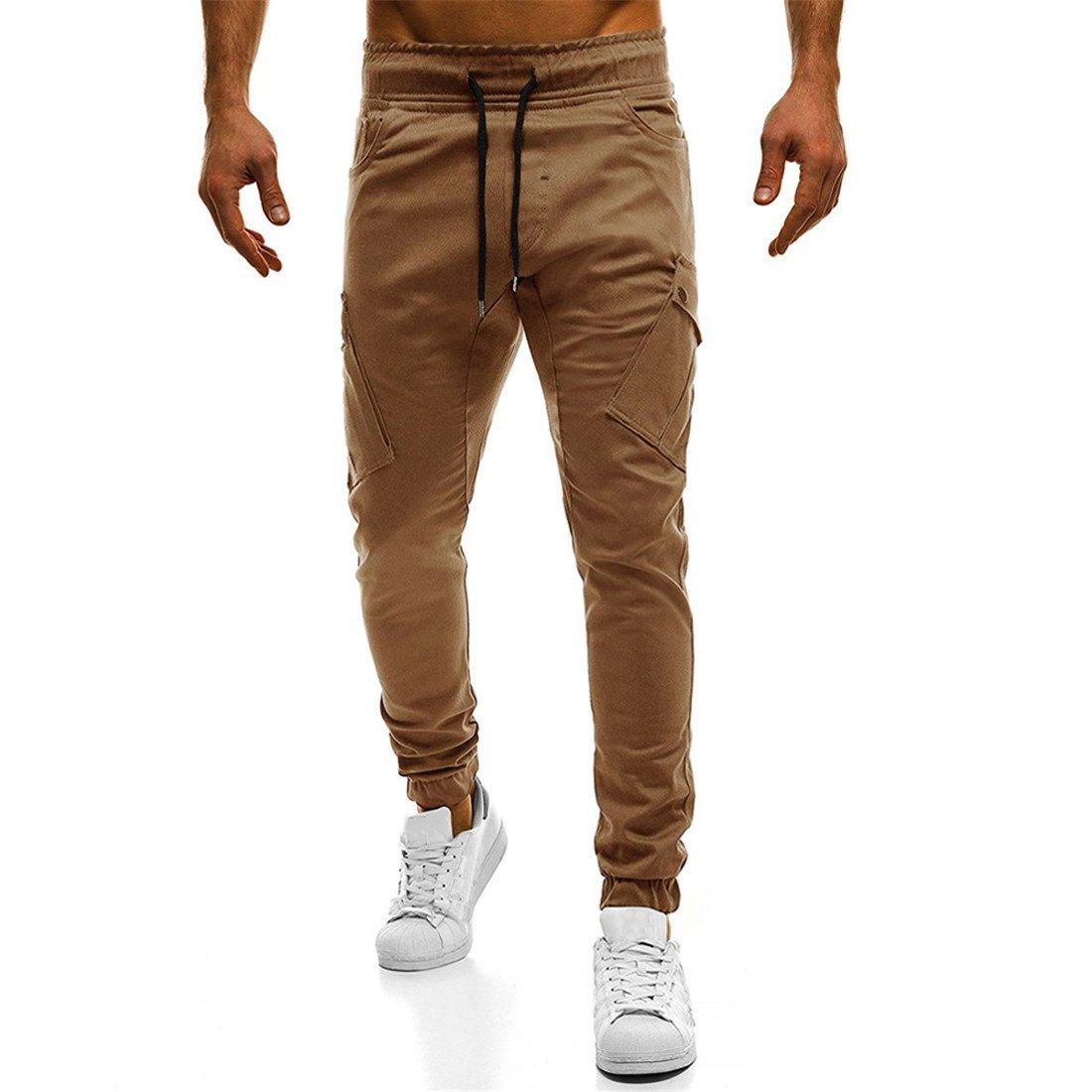 GRMO-Men Elastic Waist Running Solid Color Sport Multi-Pockets Jogger Pants