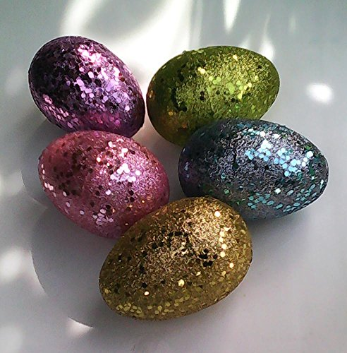 5 Large Glitter Easter Eggs - In Pastel Colors