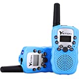 YETION Kid Walkie Talkies Two Pack 22 Channel Two Way Radios Long Range Distance Built-in Microphone Hand Free Toy Walkie Talkie for Children 3-12 Year Old (Blue)