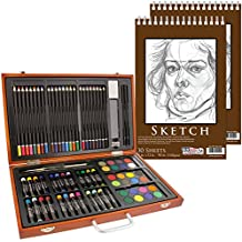 """US Art Supply 82 Piece Deluxe Art Creativity Set in Wooden Case with 9""""x12"""" 90 Pound 30 Sheet Sketch Pad"""
