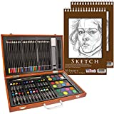 US Art Supply 82 Piece Deluxe Art Creativity Set in Wooden Case with 9''x12'' 90 Pound 30 Sheet Sketch Pad