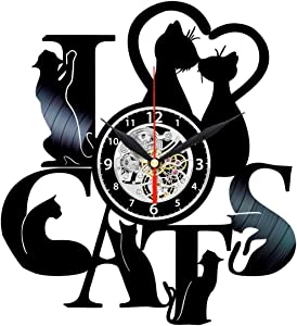 Cat Vinyl Clock - Record Home Decor - Wall Art for Living Room - Cat Gifts for Women