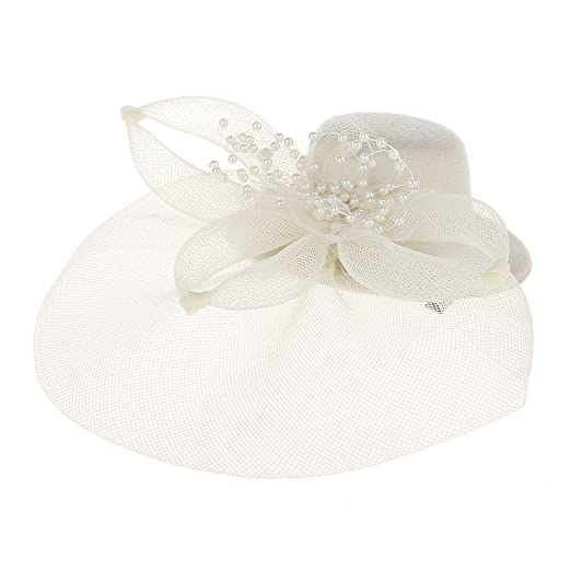 86e15b4d168 Hoshell Headwear Fascinator Hats Pillbox Hat British Bowler Hat Flower Veil  Wedding Hat Tea Party (Beige