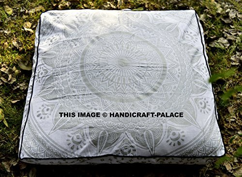 5 Pcs Large Mandala Floor Pillows Wholesale Lot Square Indian Cushion Cover 35'' Oversized Cushion Cover Cotton Seating Ottoman Poufs Dog / Pets Bed Sold By Handicraft-Palace by Handicraft-Palace (Image #2)
