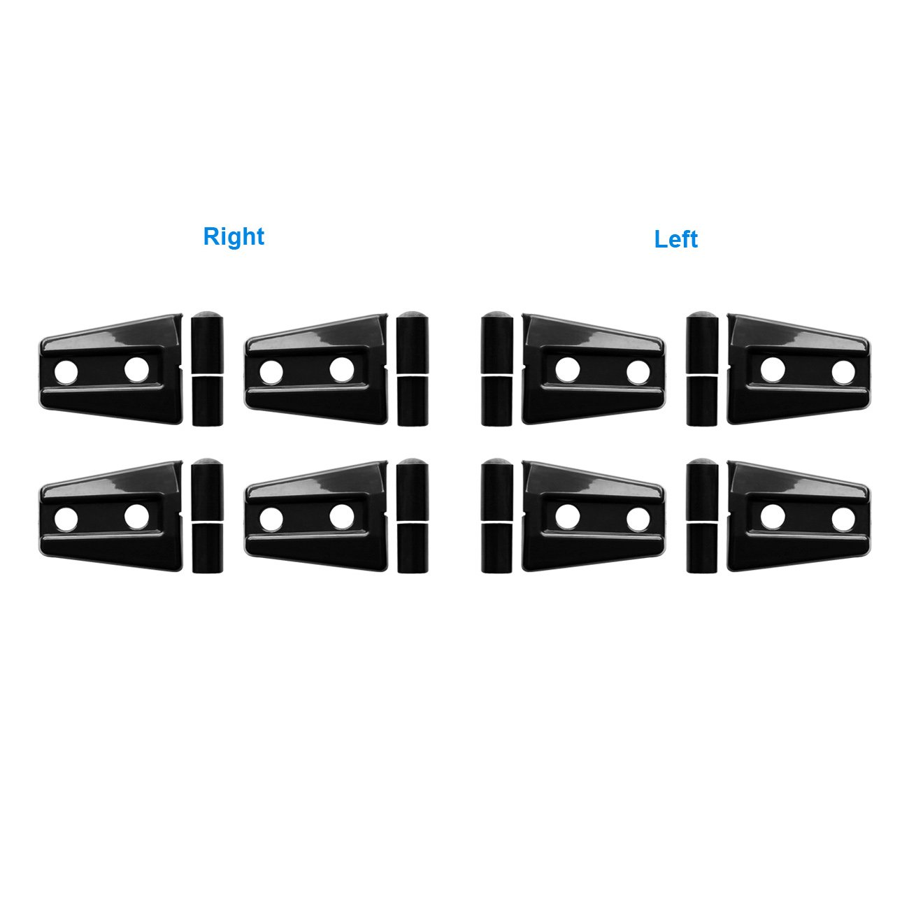 DIYTUNINGS 8 Pcs Black Door Hinge Cover Trim for 4 door Jeep Wrangler JK JKU Unlimited Rubicon Sahara X Off Road Sport Exterior Accessories Parts 2007-2017