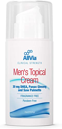 Allvia – Men s Topical Cream – 30 mg DHEA, Panax Ginseng, and Saw Palmetto, Clinical Strength, Fragrance Free, Paraben Free – 4 Ounces