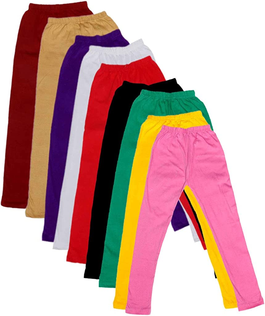 Indistar Kids Solid Leggings Pants Pack of 9