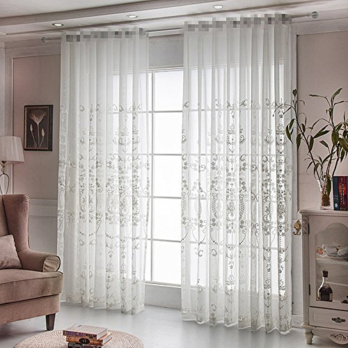 AiFish Rod Pocket Sheer Curtain 84 inches Long Beige White Sheer Curtains Panel Floral Embroidery Voile European Style for Living Room Sliding Glass Door W39 x L84 inch 1 Panel (Voile Embroidered Curtains)