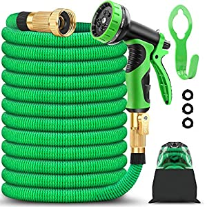 BAZOLOTA Garden Hose, Expandable 50FT Water Hose with 9 Function Nozzle, Flexible Gardening Hose with All Brass…