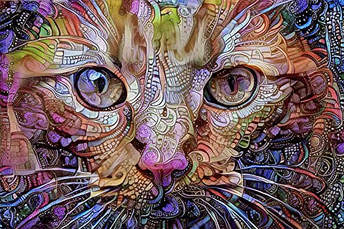 Orange Cat Fine Art Print - Colorful Psychedelic Wall Decor Art