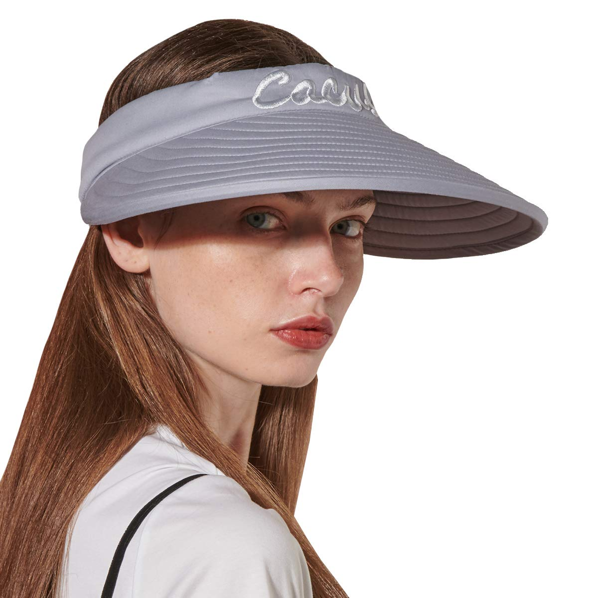 CACUSS Women's Summer Sun Hat Large Brim Visor Adjustable Magic Tape Packable UPF 50+ (Grey)
