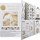 Bluezoo 8 sheets Flash Metallic Temporary Tattoos - 150+ Shimmer Designs in ...